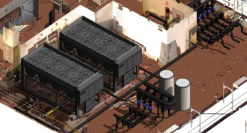 Imagen del gemelo digital de la instalación industrial, replanteo de los equipos y espacios.